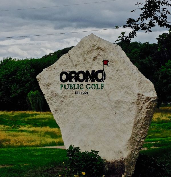 Entrance stone at Orono Public Golf Course